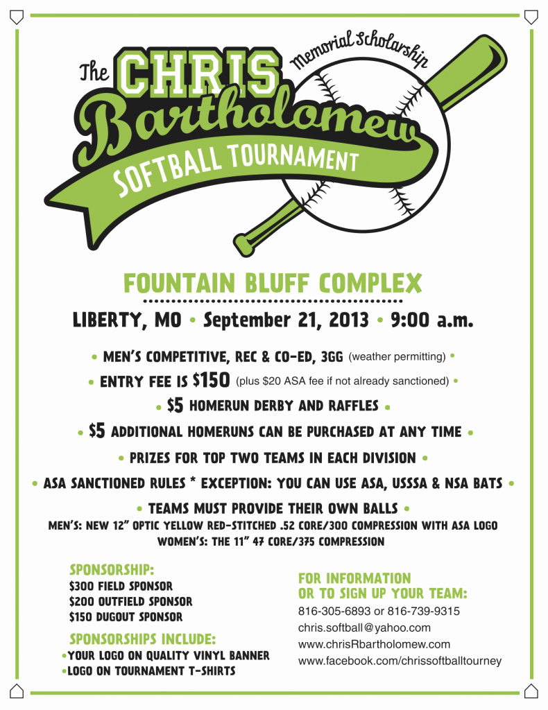 Softball tournament Flyer Template Awesome Press Release Chris Bartholomew Memorial Scholarship