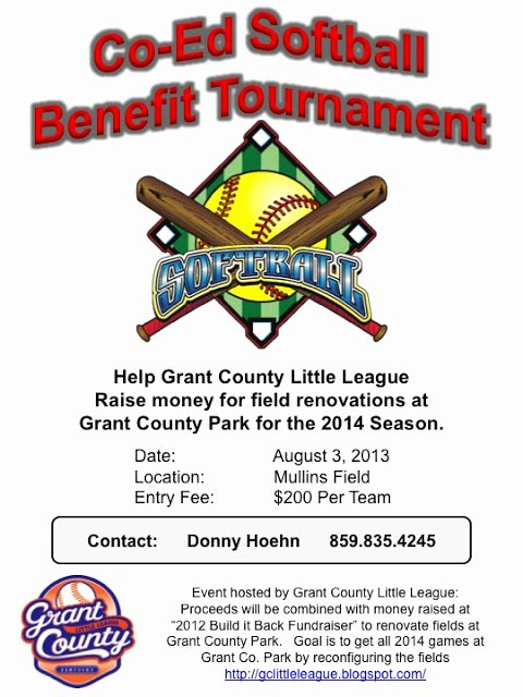 Softball tournament Flyer Template Inspirational Grant County Ky Little League Co Ed softball Benefit