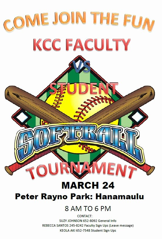 Softball tournament Flyer Template Inspirational Kauai Munity College Campus News Faculty Vs Student