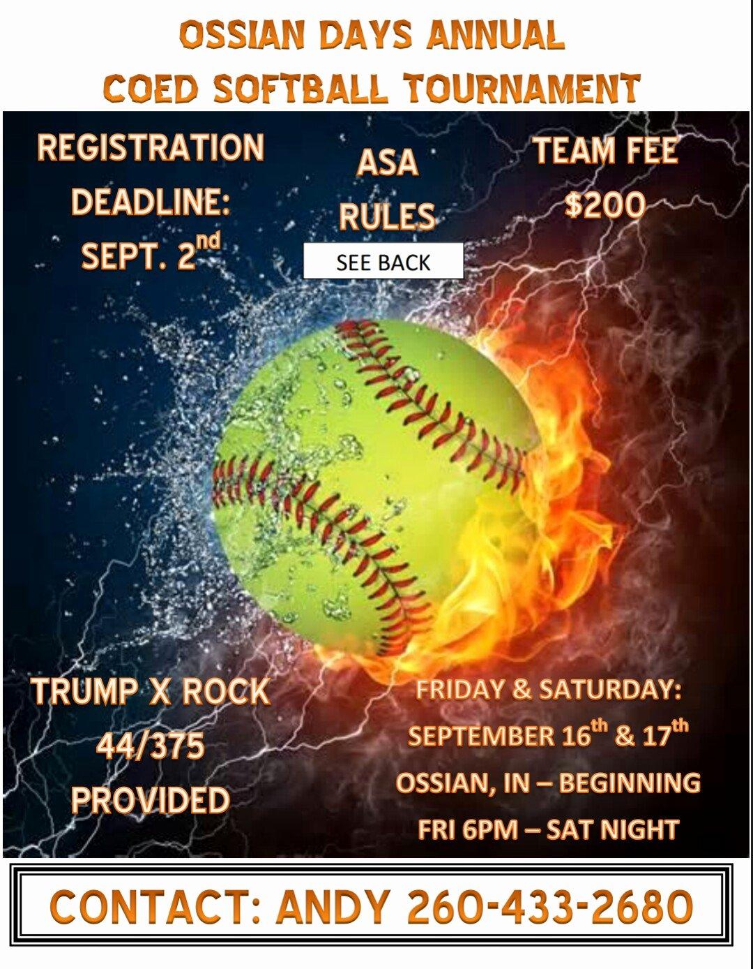 Softball tournament Flyer Template Inspirational Ossian Days Street Festival