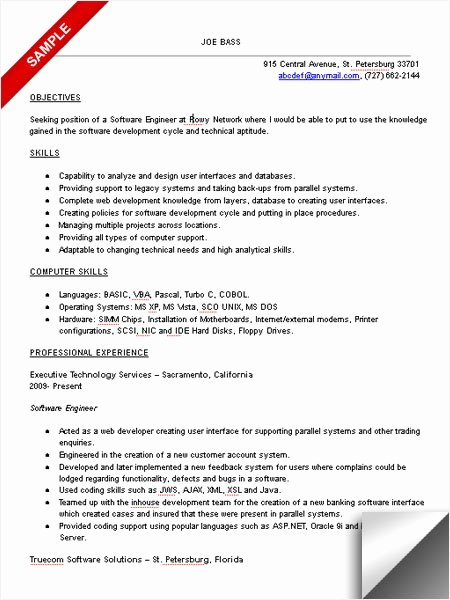 Software Developer Resume Template Awesome software Engineer Resume Sample