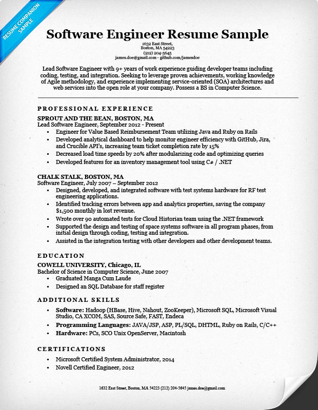 Software Developer Resume Template Beautiful software Engineer Resume Sample & Writing Tips