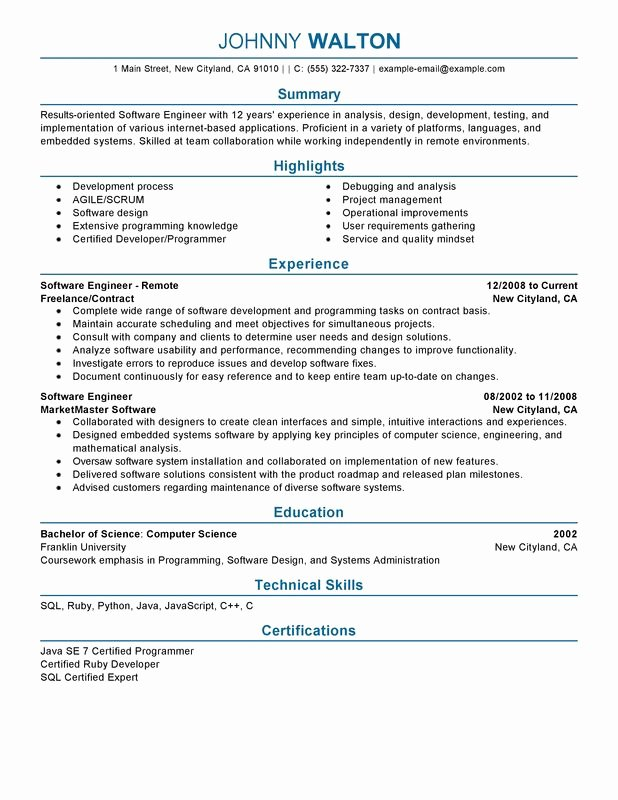 Software Developer Resume Template Fresh Remote software Engineer Resume Examples – Free to Try