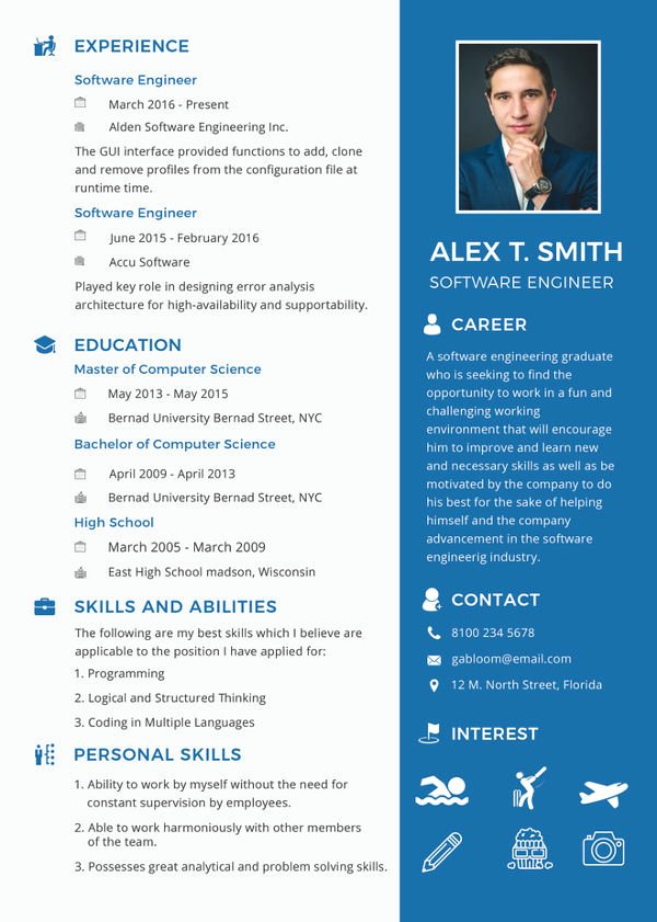 Software Developer Resume Template Inspirational 23 Modern Fresher Resume Templates