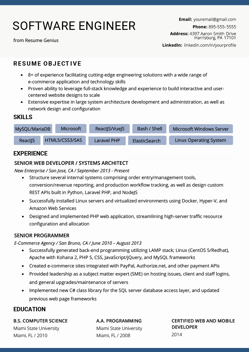 Software Developer Resume Template Inspirational software Engineer Resume Example & Writing Tips