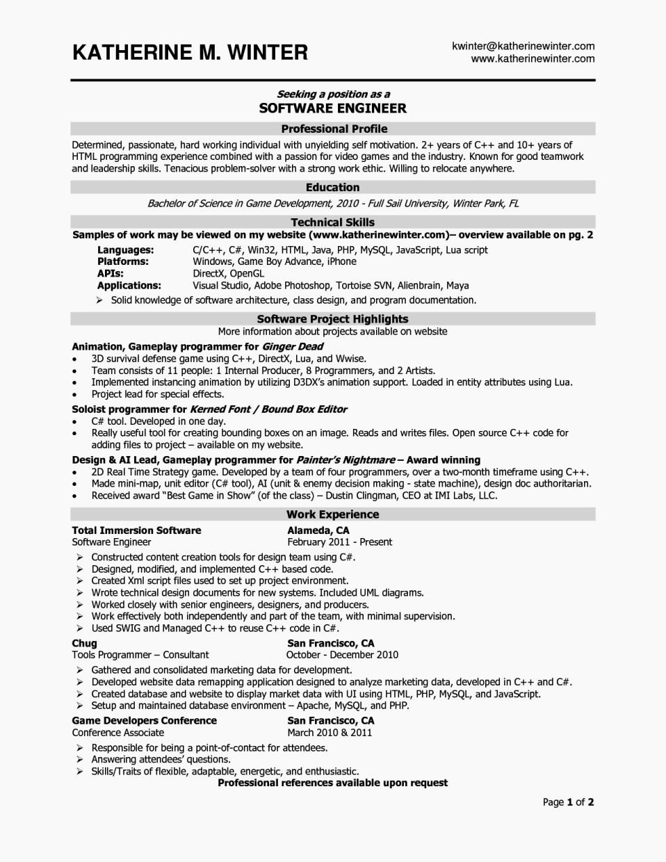 Software Developer Resume Template Lovely Experience Resume format for software Developer