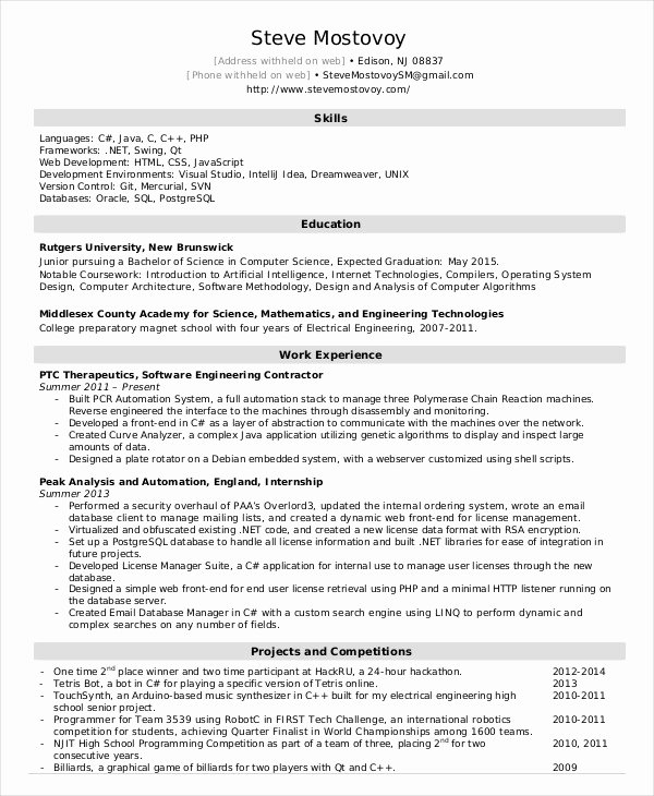 Software Developer Resume Template New software Engineer Resume Example 10 Free Word Pdf