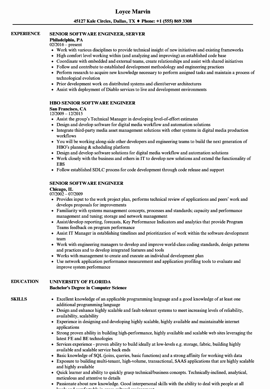 Software Developer Resume Template Unique Puter Engineer Resume Talktomartyb