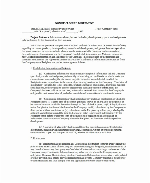 Software Development Contract Template Awesome Non Disclosure Agreement Template 8 Free Word Pdf