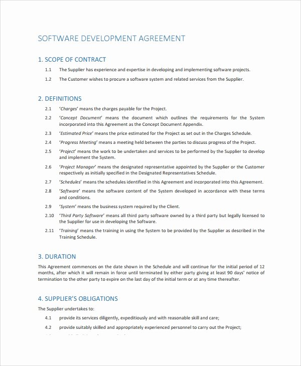 Software Development Contract Template Beautiful 10 software Development Agreement Templates