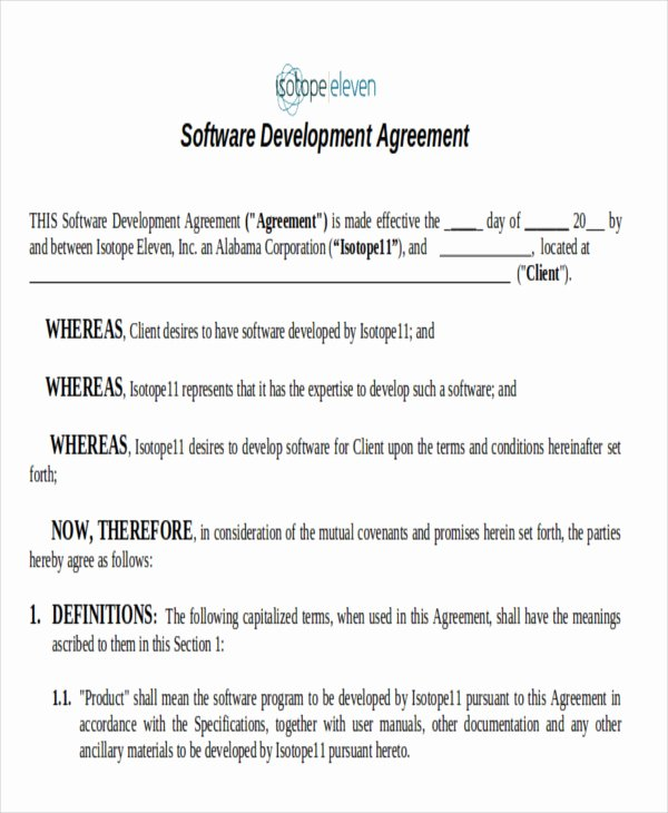 Software Development Contract Template Beautiful 7 Development Agreement Contract Samples