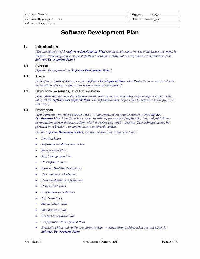 Software Development Plan Template Inspirational software Development Plan Template