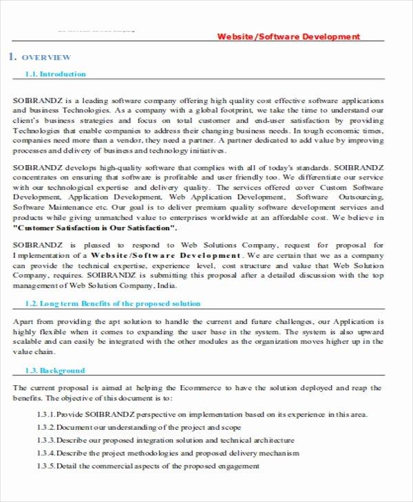 Software Development Proposal Template Fresh Development Proposal Templates 7 Free Pdf format
