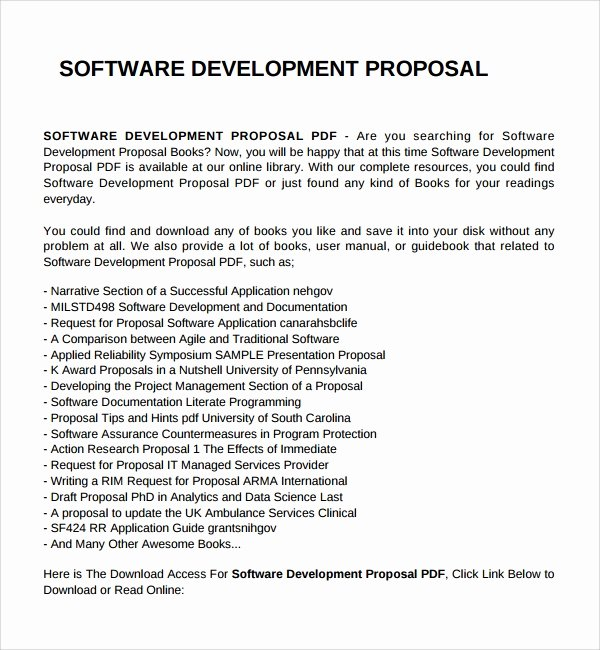 Software Development Proposal Template Fresh Sample software Development Proposal Template 7 Free