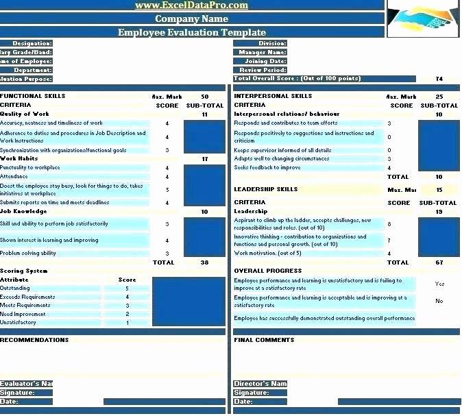 Software Evaluation Template Excel Elegant Vendor Selection Template Excel Performance Scorecard
