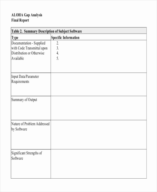 Software Gap Analysis Template Elegant 12 Gap Analysis Template Free Sample Example format