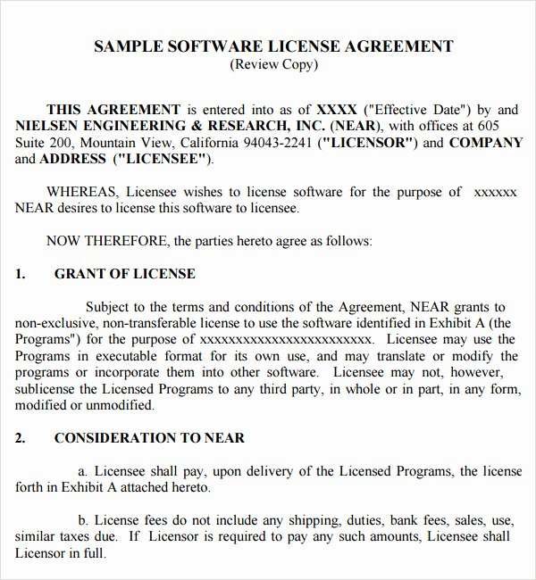 Software License Agreement Template Awesome 8 Sample Useful software License Agreement Templates