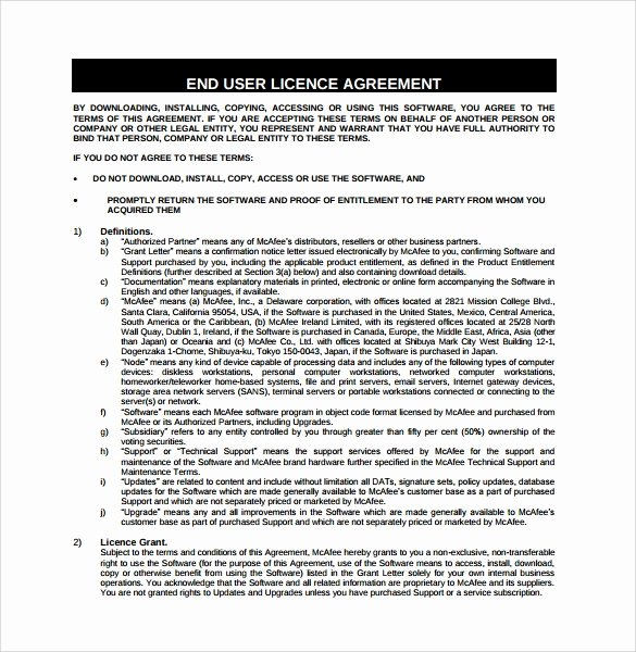 Software License Agreement Template Best Of 8 software License Agreement Samples
