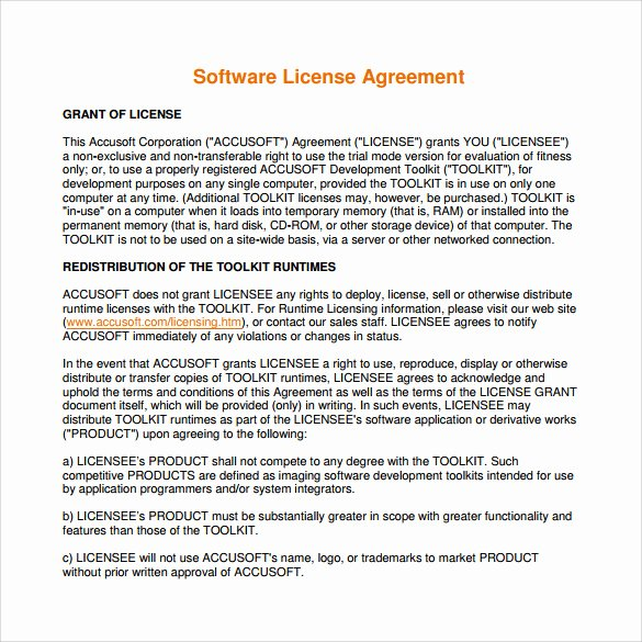 Software License Agreement Template Elegant 7 Sample software License Agreements