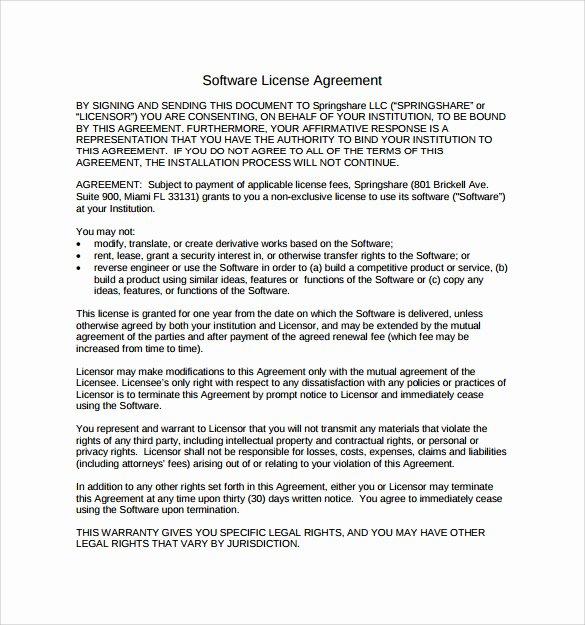 Software License Agreement Template Elegant 7 Sample software License Agreements
