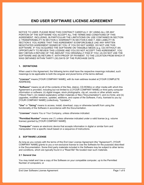Software License Agreement Template Fresh 5 software End User License Agreement Template