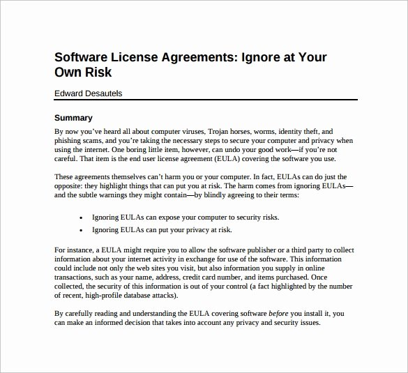 Software License Agreement Template Inspirational 8 Sample Useful software License Agreement Templates