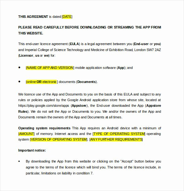 Software License Agreement Template Luxury 13 License Agreement Templates – Free Sample Example