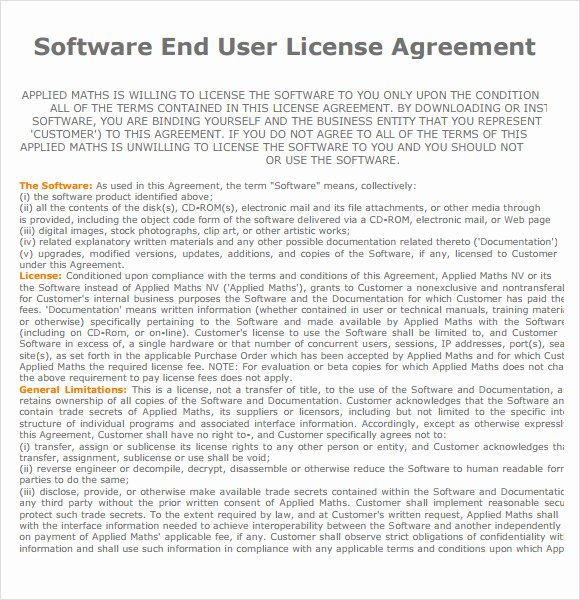 Software License Agreement Template New End User License Agreement – 7 Free Samples Examples