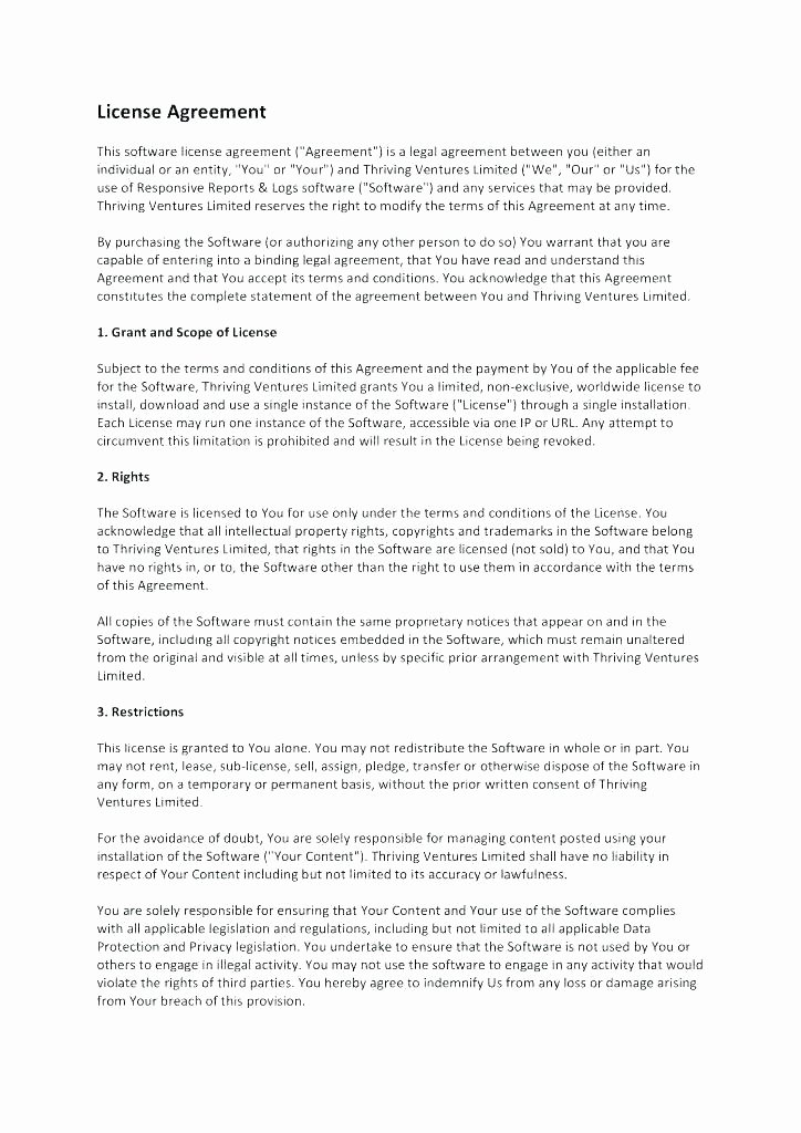 Software License Agreement Template New Exclusive software License Agreement Template Content