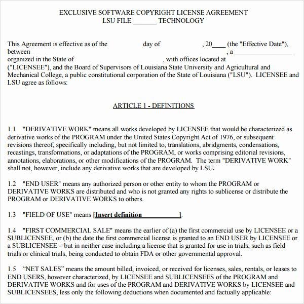Software License Agreement Template Unique 8 Sample Useful software License Agreement Templates