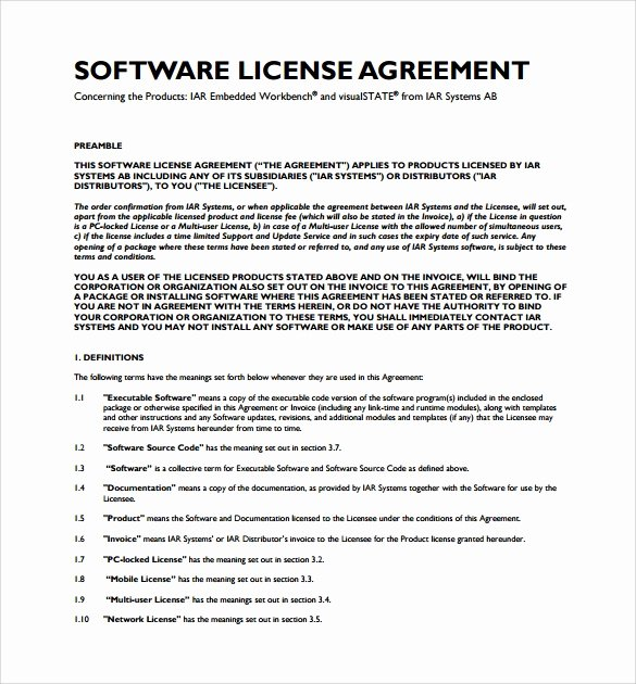 Software Licensing Agreement Template Awesome 8 software License Agreement Samples