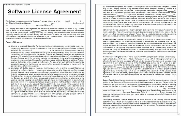 Software Licensing Agreement Template Awesome software License Agreement Sample form