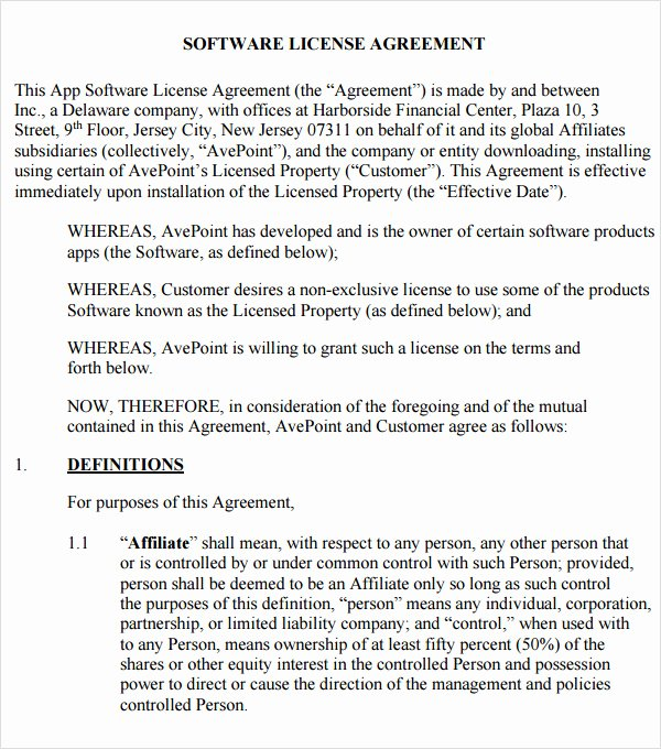 Software Licensing Agreement Template Fresh 8 Sample Useful software License Agreement Templates