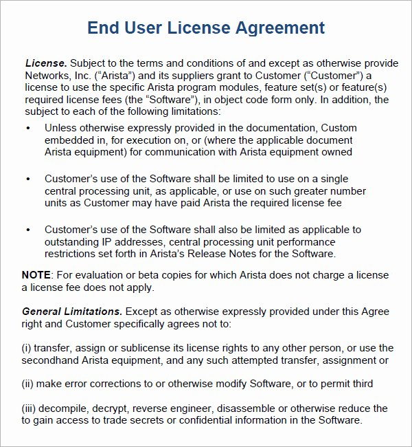 Software Licensing Agreement Template Lovely End User License Agreement 6 Free Pdf Doc Download