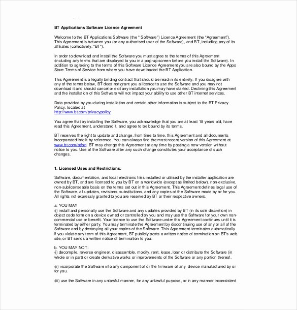 Software Licensing Agreement Template New 13 License Agreement Templates – Free Sample Example