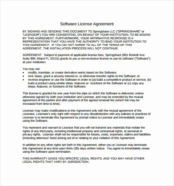 Software Licensing Agreement Template Unique 7 Sample software License Agreements