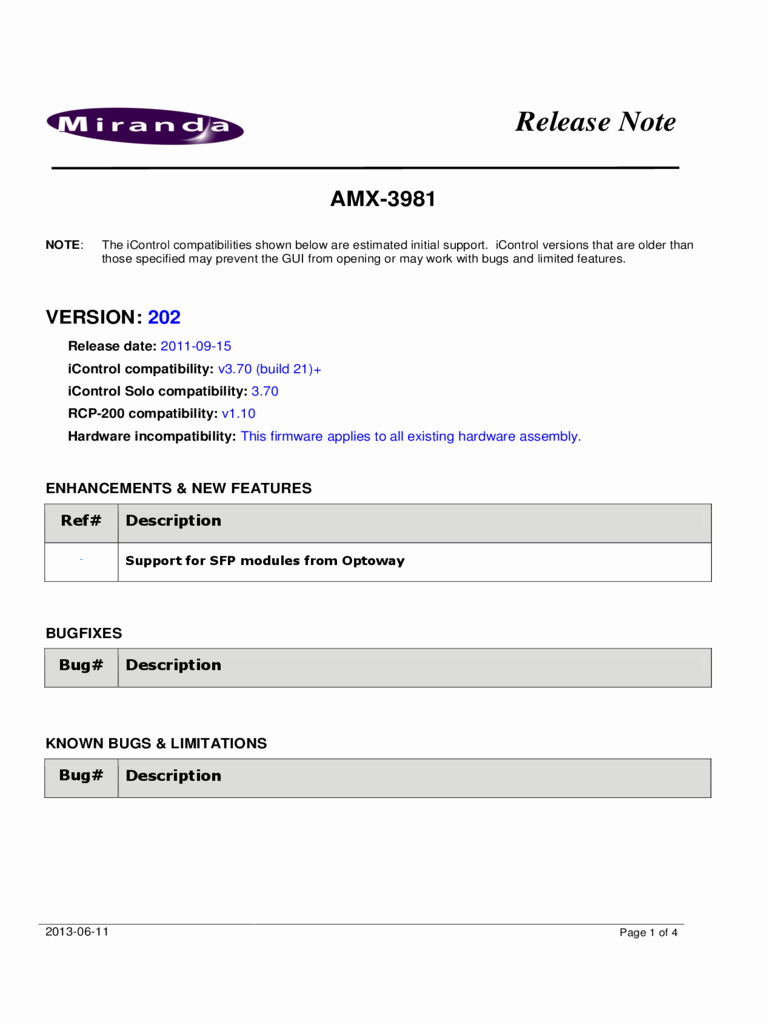 Software Release Notes Template Inspirational Release Release Notes Template