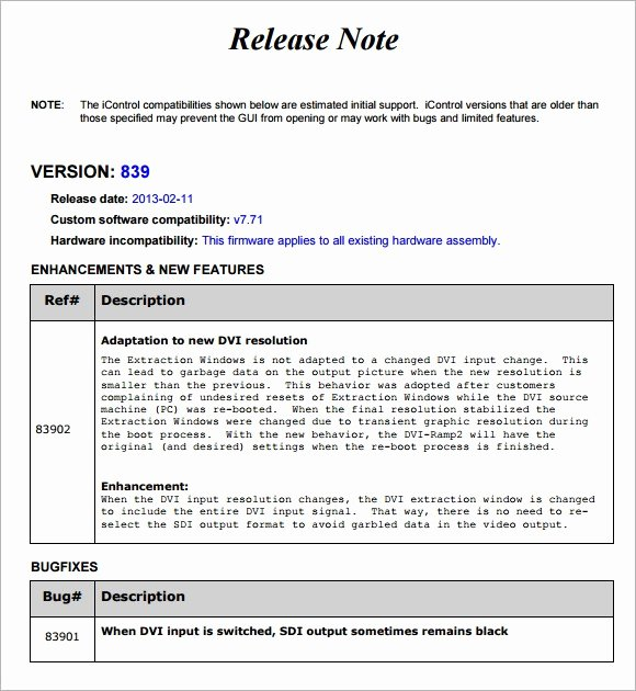 Software Release Notes Template Luxury Release Notes Template