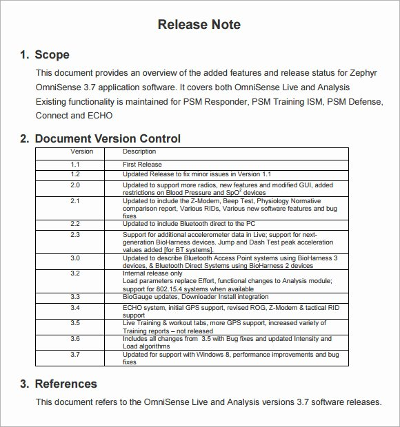 Software Release Notes Template Unique Release Notes Template 6 Download Free Documents In Pdf