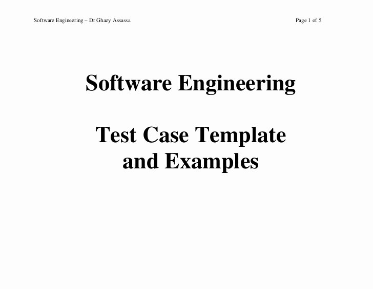 Software Test Cases Template Fresh Test Case Template