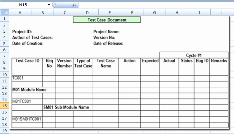 Software Test Cases Template New Project Management Test Case Template Excel Xls