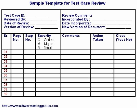 Software Test Cases Template Unique Test Case and Its Sample Template