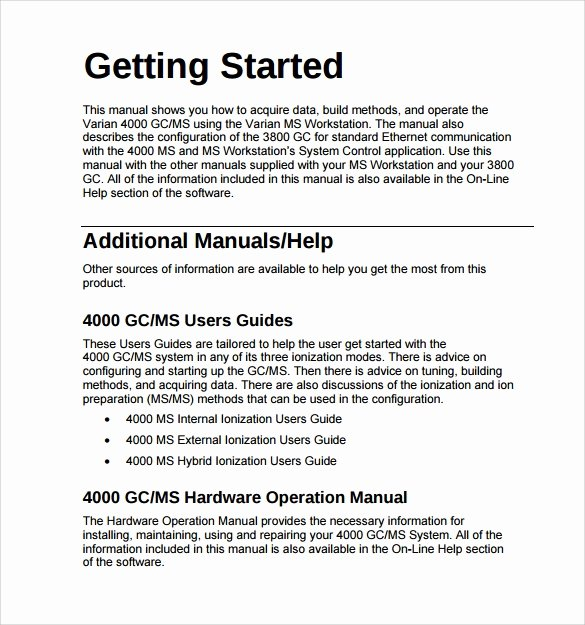 Software User Manual Template Inspirational Operations Manual Template 11 Free Samples Examples
