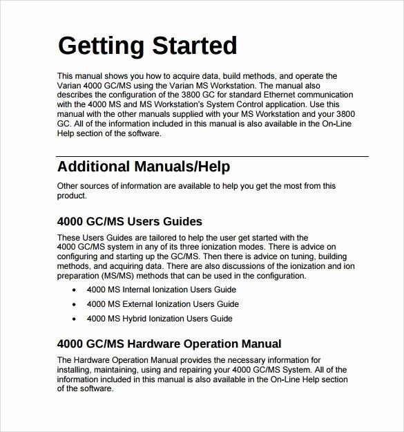Software User Manual Template Inspirational Operations Manual Template 11 Free Samples Examples