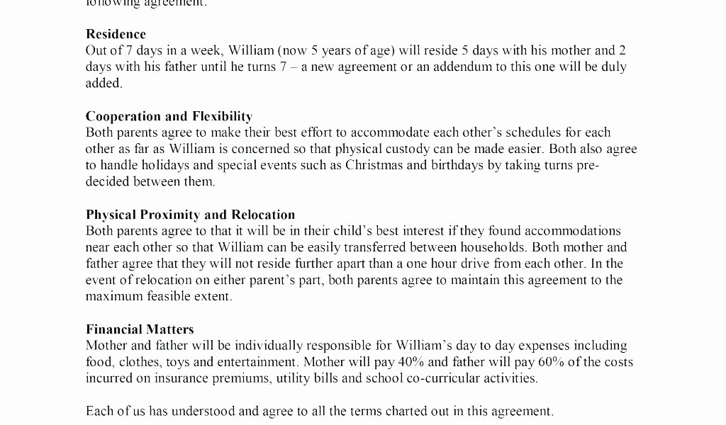 Sole Custody Agreement Template Beautiful Full Custody Agreement Template Child Parenting Custody