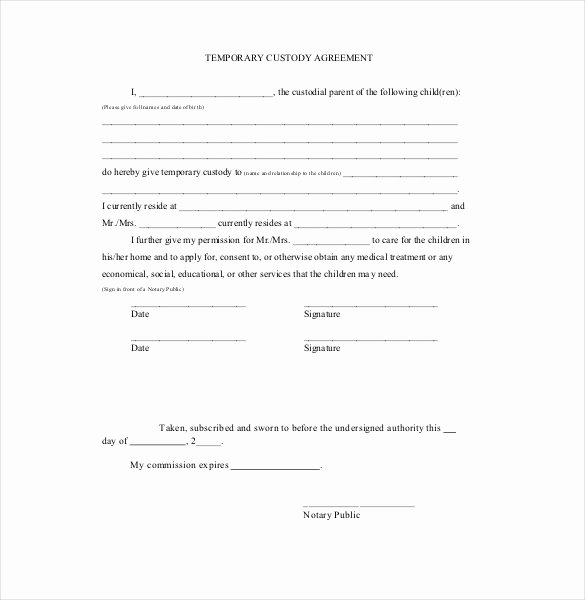 Sole Custody Agreement Template Best Of Custody Agreement Template Free Templates Resume