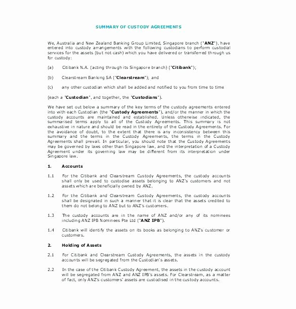 Sole Custody Agreement Template Fresh Custody Agreement Template – Kazakiafo