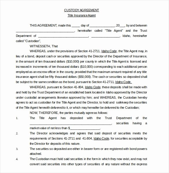 Sole Custody Agreement Template Lovely 10 Custody Agreement Templates – Free Sample Example