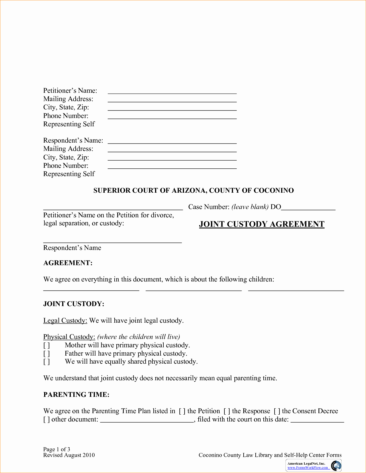 Sole Custody Agreement Template Luxury Custody Agreement Template