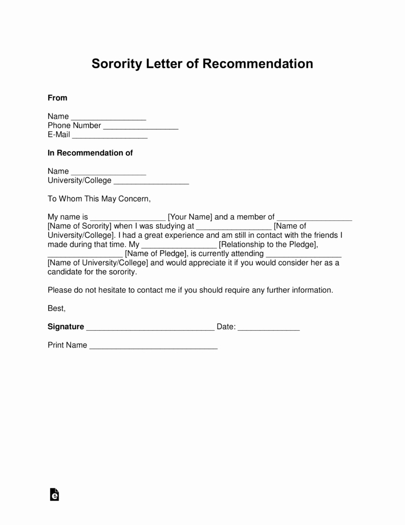 Sorority Recommendation Letter Template Awesome Free sorority Re Mendation Letter Template with